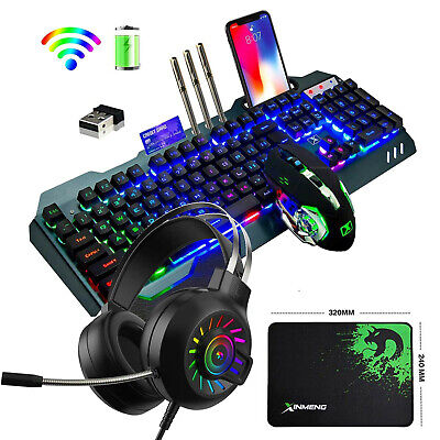 AU96.20 • Buy Wireless Keyboard And Mouse And Headset Set RGB Rainbow Backlit For PS4 Xbox One