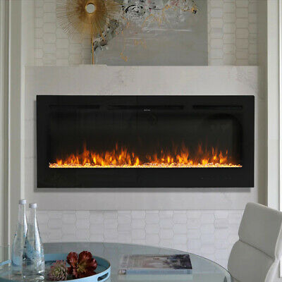 £309.95 • Buy LED Crystal Log Wall Mounted Electric Fireplace Insert Fire Stove 40 50 60 Inch