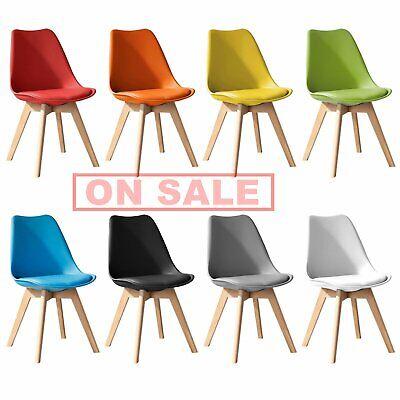 £28.90 • Buy Tulip Dining Chair Eiffel Inspired Solid Wood Padded Seat Computer Desk Home UK