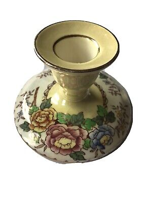 £7.50 • Buy Vintage Maling Ware Yellow Lustre Peony Rose Candle Holder - Excellent Condition