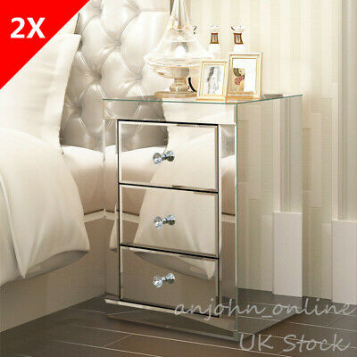 £248 • Buy UK 2X Mirrored Glass Bedside Tables Pair Of Nightstands Drawers Cabinets Bedroom
