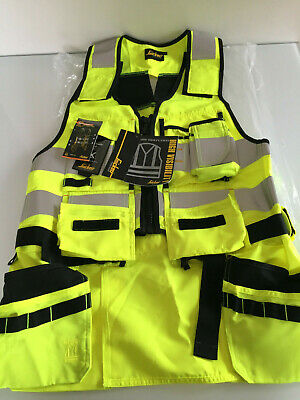 £79.99 • Buy Snickers 4230 AllroundWork Yellow High-Vis Tool Vest CL1 BNWT Size 006 - LARGE