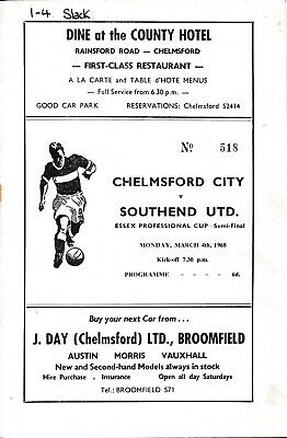 £4.99 • Buy Chelmsford City V Southend United (Essex Professional Cup) 1967/1968