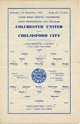 £6.99 • Buy Colchester United V Chelmsford City (Essex Professional Cup) 1959