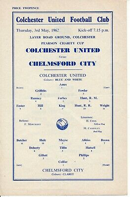 £6.99 • Buy Colchester United V Chelmsford City (Pearson Charity Cup) 1962 - Single Sheet