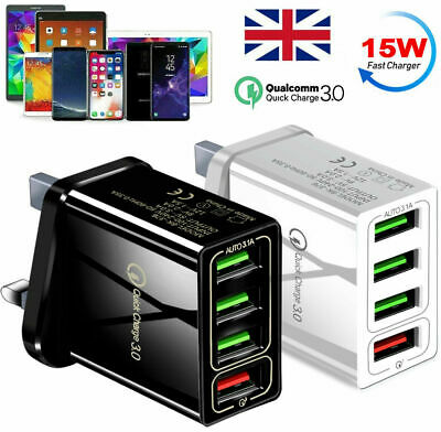 £3.99 • Buy 4 Multi-Port Fast Quick Charge QC 3.0 USB HUB Mains Wall Charger Adapter UK Plug