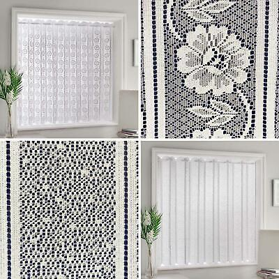 £9.95 • Buy White Lace Blind Panels Louvre Style Sheer Net Panel Pleated Window Curtains