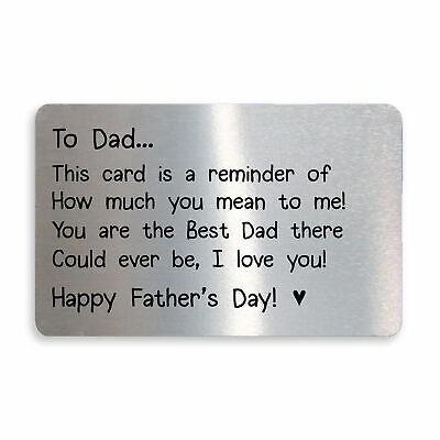 £3.99 • Buy Fathers Day Gifts Metal Wallet Card Gift For Dad From Daughter Son Keepsake