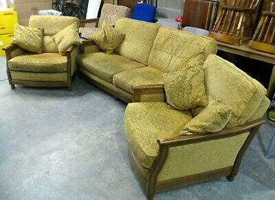 £285 • Buy ERCOL Bergere Suite, 3 Seater Sofa, 2 Armchairs, Wood Frame, Beige Gold Fabric