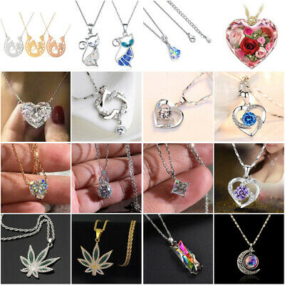AU3.73 • Buy Fashion 925 Silver Necklace Pendant For Women White Sapphire Wedding Jewelry