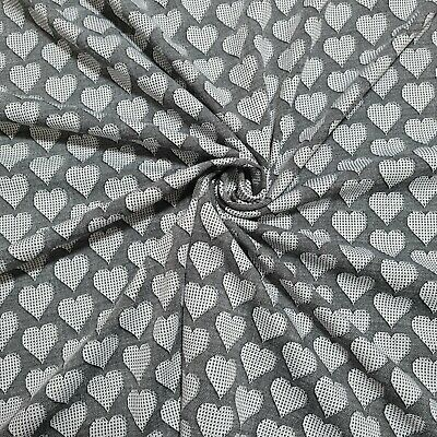 £4.99 • Buy Jersey Knit Fabric Black And White Heart Pattern 4 Way Stretch 59  Wide