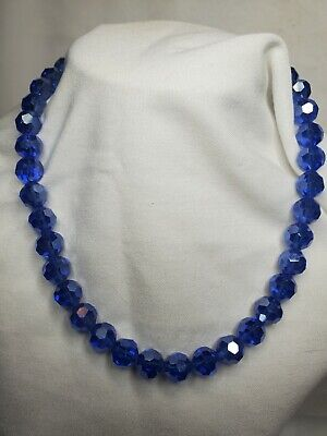 $30 • Buy Stunning Blue 12mm Round Faceted Ab Crystal 18  Necklace