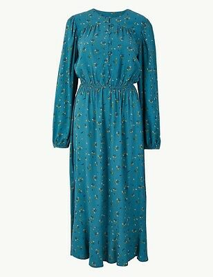 £18.99 • Buy M&S Floral Print Waisted Midi Dress Size 18 Teal Mix Long Sleeves Button Front