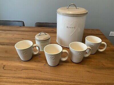 £10 • Buy Next Kitchen Love Heart Set Cream And Beige Cup And Storage Tins