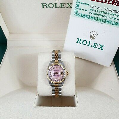 $ CDN6967.73 • Buy Ladies Steel & 18ct Gold Rolex Datejust With Pink MOP Diamond Dial With Papers