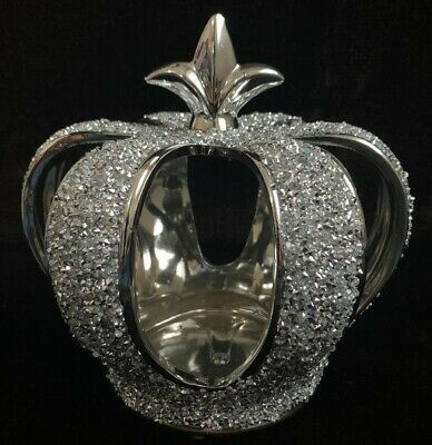 £27.99 • Buy Silver Crushed Diamond Sparkly Crown King Queen Ornament Shelf Sitter Bling