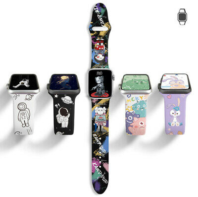 AU12.99 • Buy Carton Print Silicone Strap For Apple Watch Band Series 654321 Sport Watch Band