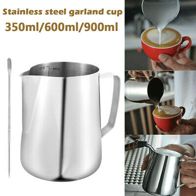 £6.99 • Buy Milk Frothing Jug Stainless Steel Frother Coffee Latte Container Metal Pitcher