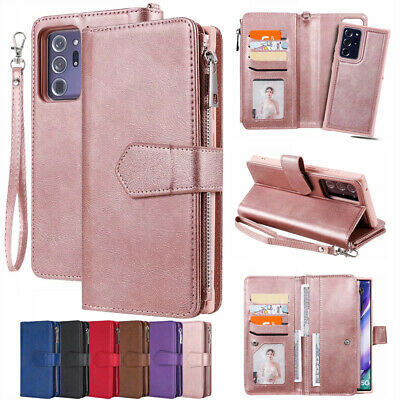AU18.99 • Buy For Samsung S20+ Ultra Note 20 S10 S9 Zipper Removable Leather Wallet Case Cover