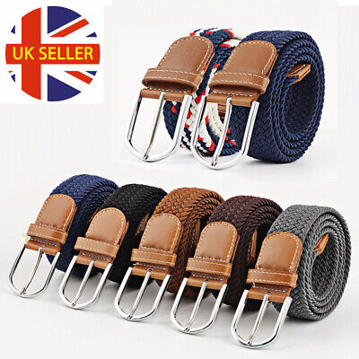 £4.79 • Buy Men Women Casual Knitted Pin Buckle Belt Woven Canvas Elastic Expandable Braided