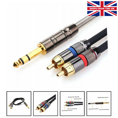 £18.25 • Buy 6.35mm TRS To 2 RCA/Phono Cable, 1/4  Stereo Jack To Dual RCA Plug Y Cable Co...
