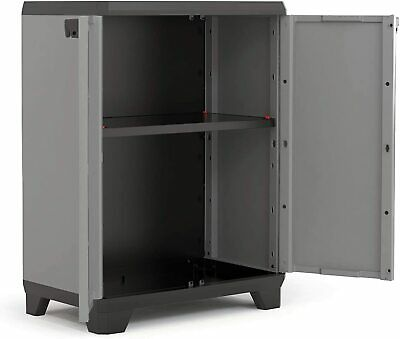£46.95 • Buy Small Deck Storage Outdoor Utility Box Plastic Shelves Unit Cupboard Garden Shed