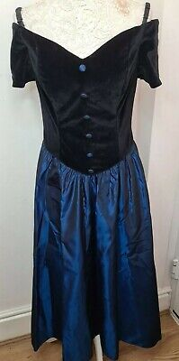 £40 • Buy Vintage Style Report Black With Blue Long Victorian StyleTriacetate Nylon Dress