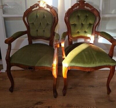 £150 • Buy Pair Of King Louis XV ARM CHAIR Mahogany FRENCH STYLE Green Button Back CHAIR