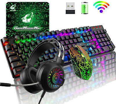 AU84.89 • Buy Wireless For PC PS4 Gaming Keyboard And Mouse And Headset Set USB Rainbow LED AU