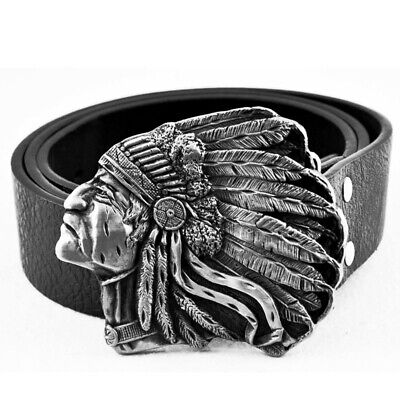 £11.39 • Buy Mens Leather Belt Belts Native American Indian Chief Rodeo Cowboy Western Buckle