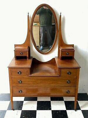 £125 • Buy Antique Edwardian Inlaid Mahogany Dressing Table Chest With Mirror - Delivery