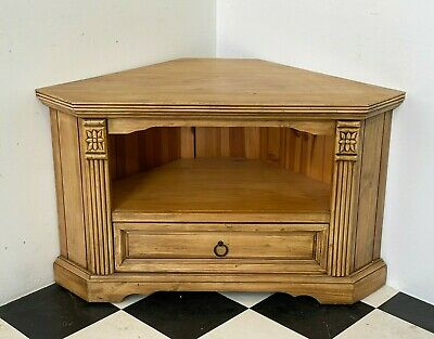 £55 • Buy Rustic Carved Solid Pine Corner Tv Stand Unit Cabinet With Drawer - Delivery