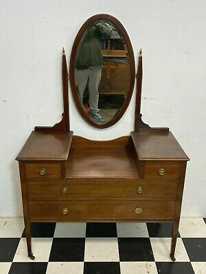 £125 • Buy Antique Edwardian Inlaid Mahogany Dressing Table With Swing Mirror - Delivery