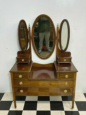£135 • Buy Antique Edwardian Inlaid Mahogany Dressing Table With Treble Mirrors - Delivery