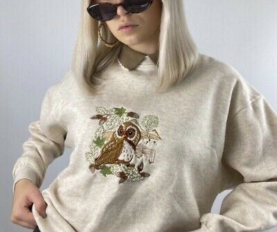 £23 • Buy Vintage Radish Countrywear Owl Patch Stitch Embroidered Jumper