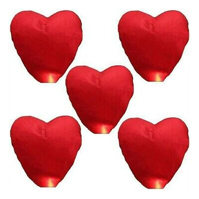 £9.99 • Buy Red Heart Chinese Lanterns Paper Wish Lamp Candle Christmas Wedding Party Decor!