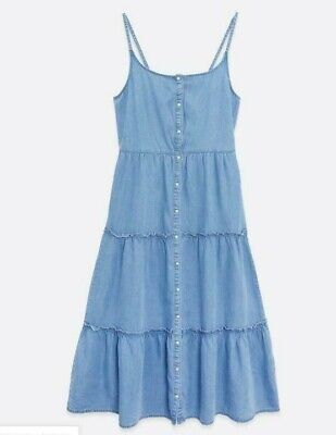 £17.99 • Buy Ex Newlook Pale Blue Denim Button Front Tiered Midi Dress Size 6-18