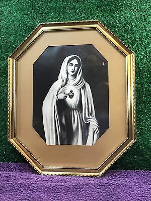 £30 • Buy Our Lady Of The Sacred Heart Vintage Framed Print Christianity Roman Catholic
