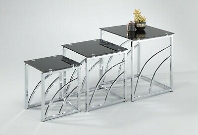 £130 • Buy Modern Style Glass Nest Of Tables Tempered Glass Frame Display Living Room Table