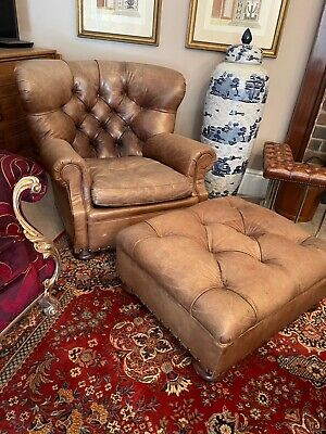 £4250 • Buy Ralph Lauren Writers Chair And Stool Brown Leather Wingback Armchair Rrp£18,000.