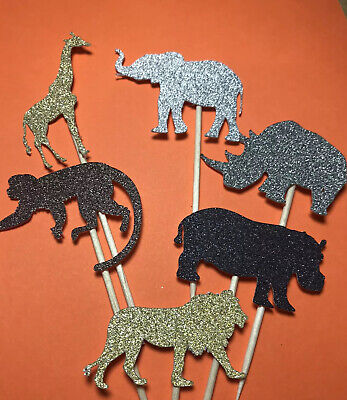 £2.89 • Buy 12 SAFARI ANIMAL GLITTER MIX Cupcake Pick Toppers Flags Cake Decorations