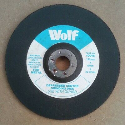 £3.95 • Buy Wolf Depressed Centre Metal Grinding Disc Angle Grinder Disc 180mm X 6mm X 22mm