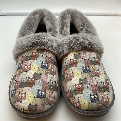 £21.23 • Buy Bob's From Skechers Womens Size 8 Too Cozy Slippers Cats Kitty's Memory Foam New