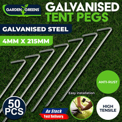 AU28.98 • Buy 50Pcs Tent Pegs Heavy Duty Steel Ground Camping Stakes Outdoor Nail 215mm Length