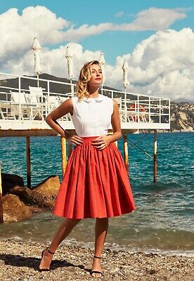 £44.99 • Buy Red Patterned 1950s 50s Vintage Style Full Skirt With Petticoat UK14/UK10