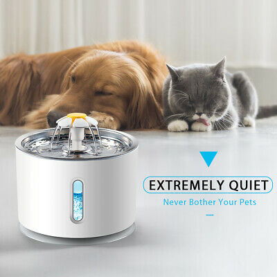 £20.99 • Buy 2.4L Electric Cat Water Fountain Automatic Dog Pet Drinking Dispenser+LED Light