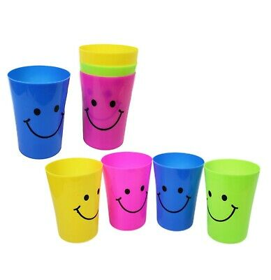 £6.49 • Buy Childrens Smiley Face Plastic Party Glasses Travel Beach Holiday Cups 4 Pack