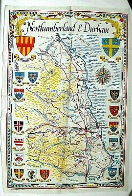 £14.99 • Buy Vintage New Linen Tea Towel Northumberland & Durham Map Family Name Coat Of Arms
