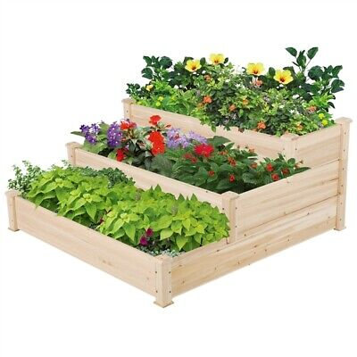 £62.99 • Buy 3 Tier Raised Garden Bed Wood Planter Elevated Box Kit For Vegetables/Flowers