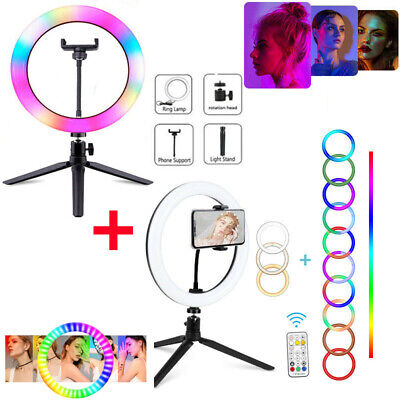 AU18.99 • Buy 10'' LED Ring Light &Tripod Stand Phone Holder Dimmable Studio Photo Makeup Lamp